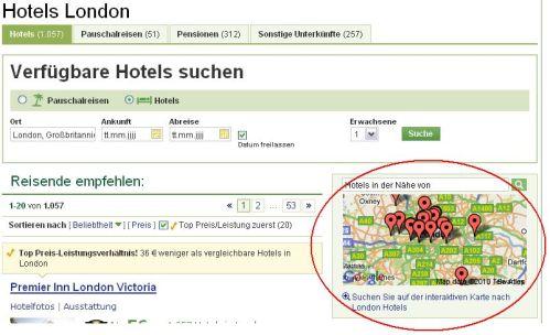 Interaktive Karte mit Anzeige des Hotelstandorts